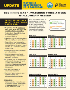 May 2015 Twice Weekly Watering Calendar