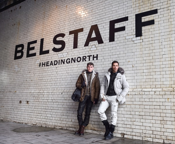 Paul Sculfor and Belstaff model showcasing the 'Heading North' Winter 2016 Menswear Collection