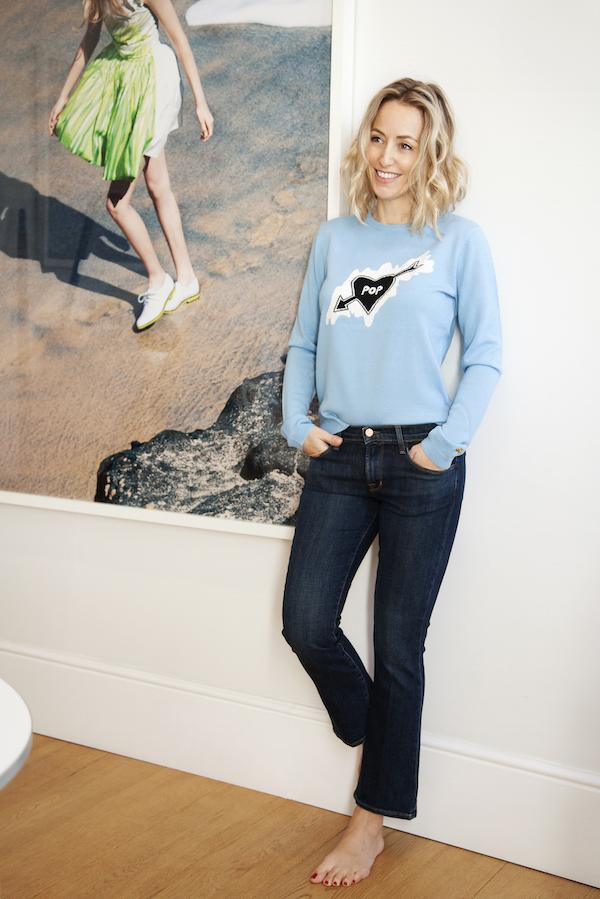 Fanny Bella Freud jumpers and J Brand jeans