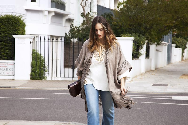 Laetitia wears IDA Kitty Ankle Swinger, Mes Demoiselles Sasha Blouse and Ulla Johnson Quintana Wrap