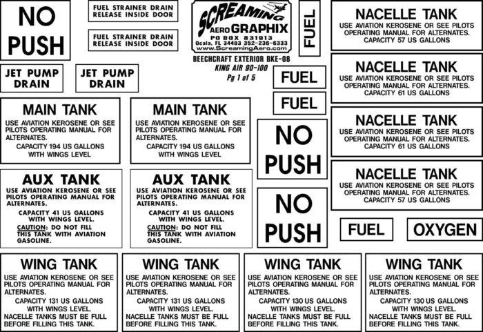 Beechcraft King 90 100 Exterior Placard decal Kit