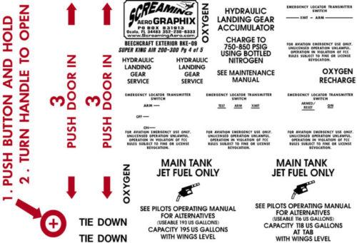 Beechcraft King 200 300 Exterior Placard Kit