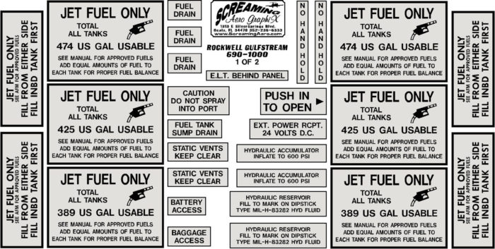 Rockwell Gulfstream 690-1000 Exterior Placard Kit