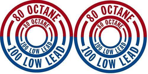 80/100 low lead fuel placard