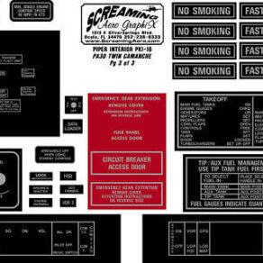 Piper PA30 Twin Camanche Interior Placard Kit