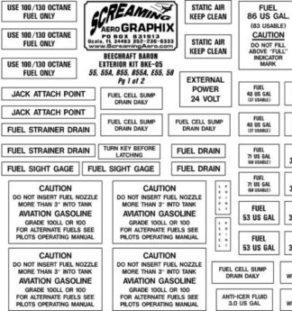 Beechcraft Baron 55 thru 58 Exterior Placard Kit