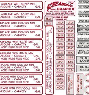 Cessna Exterior Placard Decal Kit 120 150 152 170 172 177 180 182 185 206 210