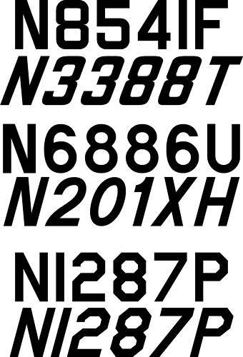 Airplane Registration N Numbers 12 inch Pair (Both Sides)