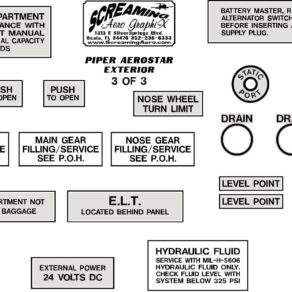 Piper Exterior Placard Kit Aerostar 600