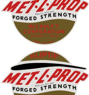 McCauley Prop Propeller Decal Antique Met-L-Prop