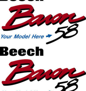 Beechcraft Baron Logo 55 thru 58 Decal PAIR