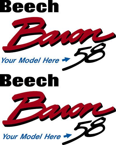 Beechcraft Baron Logo 55 thru 58 Decal PAIR