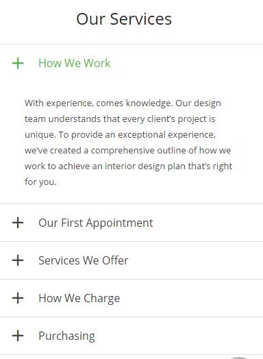 Accordion Content WordPress Website