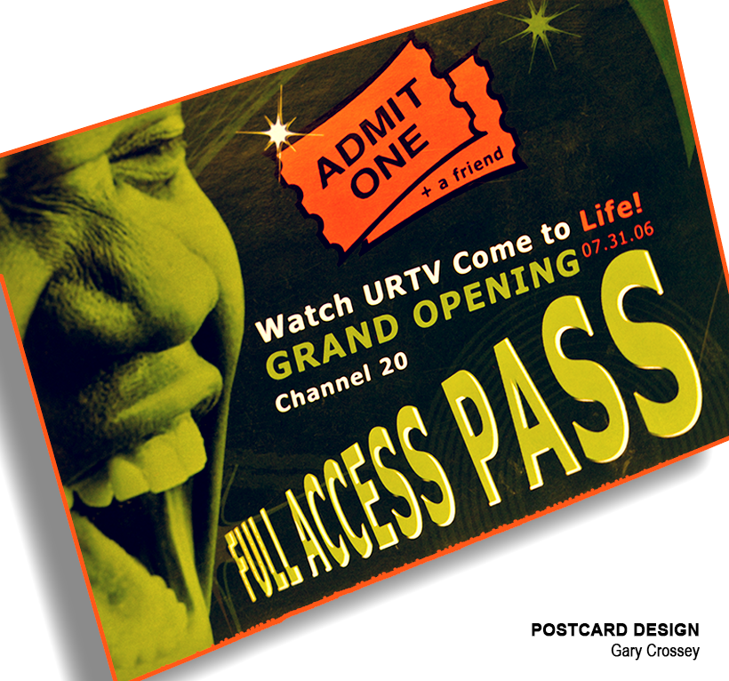 Asheville Graphic Design Sample - Postcard Invite for the opening of the Asheville Public Access TV Channel