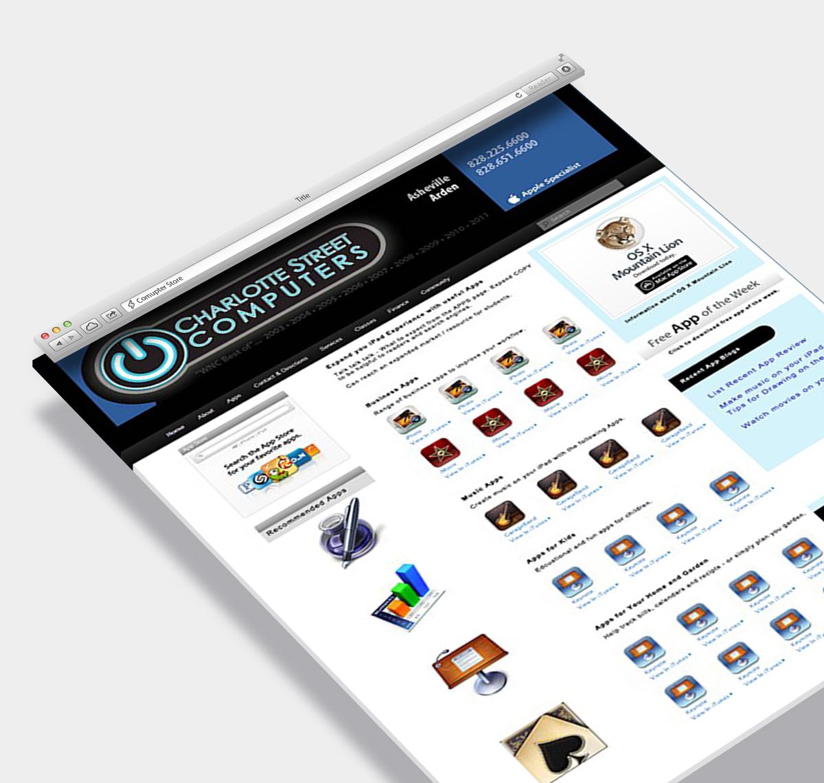 Website Design Sample Asheville Retail Store
