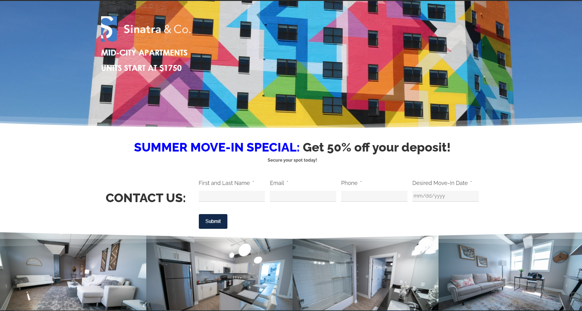 Mid-City Apartments Landing Page
