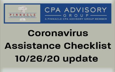 Coronavirus Assistance Checklist by Dave Krebs, CPA, Oct. 26, 2020 update