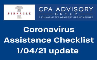Coronavirus Assistance Checklist by Dave Krebs, CPA, Jan. 4, 2021 update