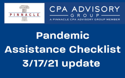 Pandemic Assistance Checklist by Dave Krebs, March 17, 2021 update