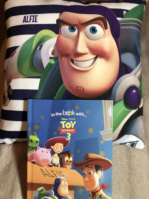 Toy story 3 cushion and book