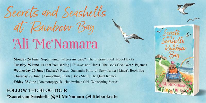 twit pic Secrets and Seashells at Rainbow Bay blog tour poster