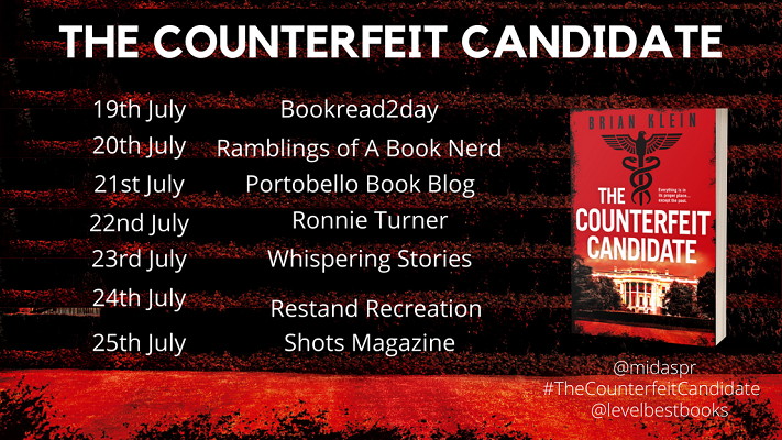 The Counterfeit Candidate by Brian Klein tour poster
