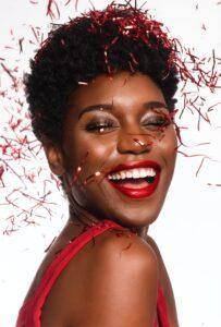 lady smiling happily teeth whitening Houston Houston dental oasis