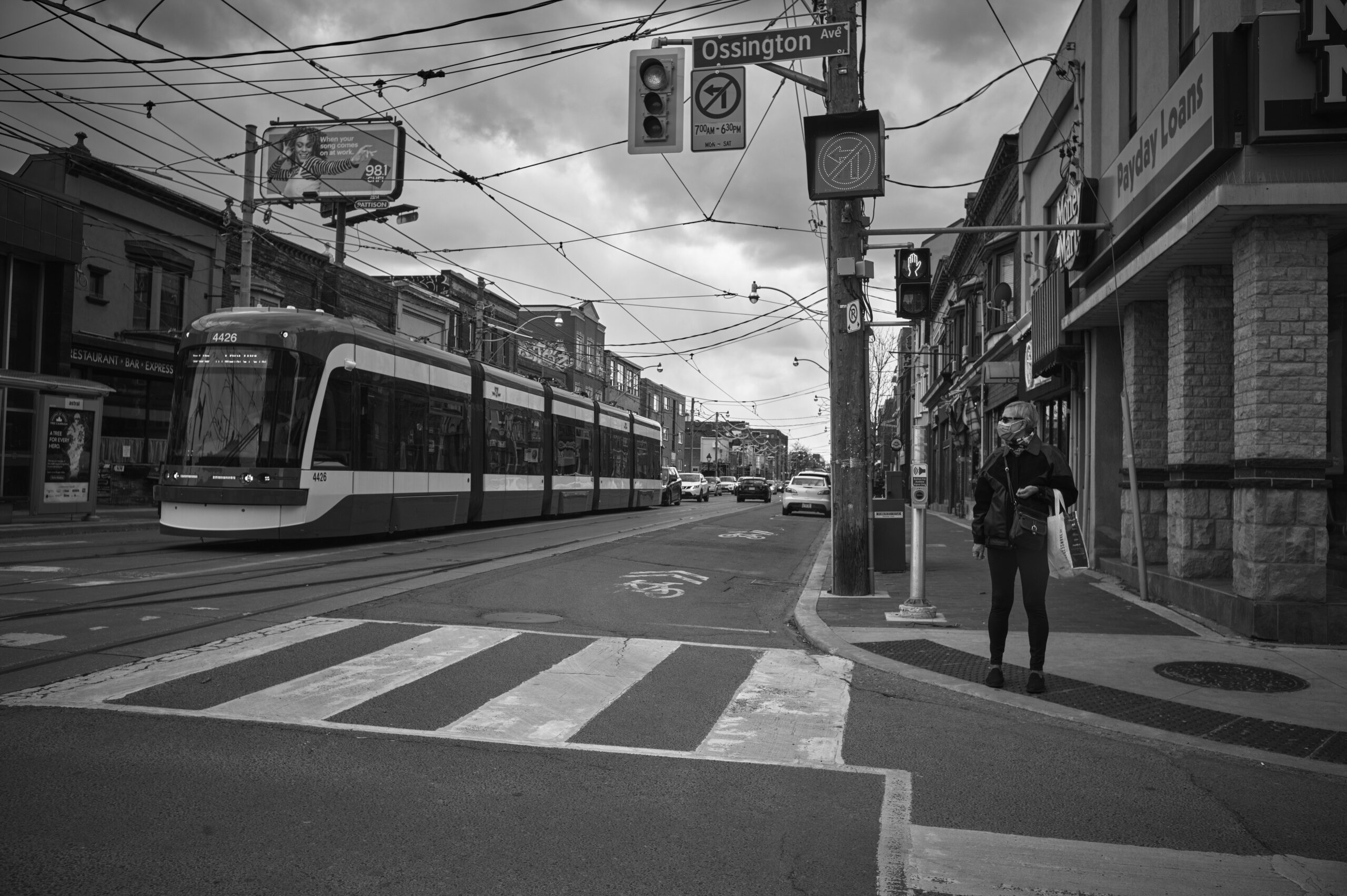 Empty streets, Ossington St. intersection. Late March
