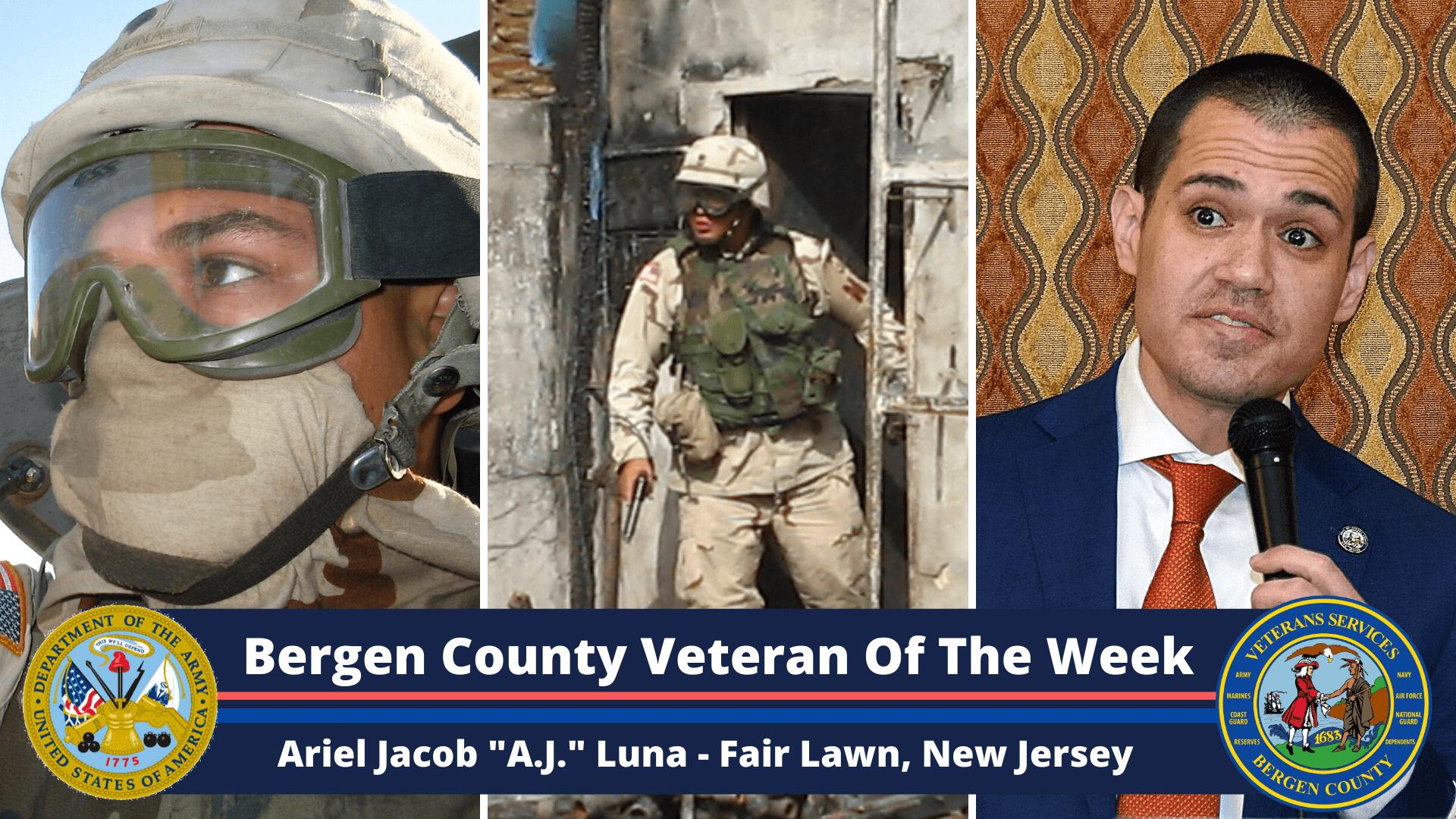 "Bergen County Veteran Of The Week: Ariel Jacob ""A.J."" Luna"