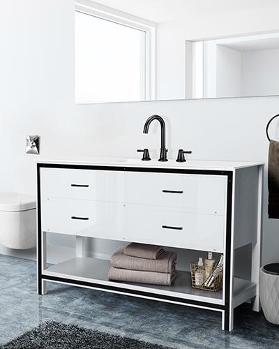 White sink vanity unit in loft bathroom, side