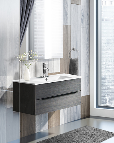 Sink and tub in white bathroom corner