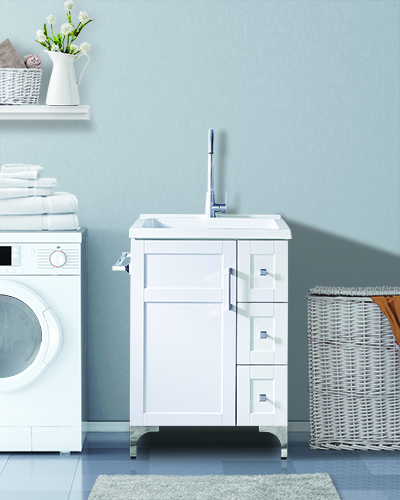 Washing machine in room with blank wall – 3d rendering