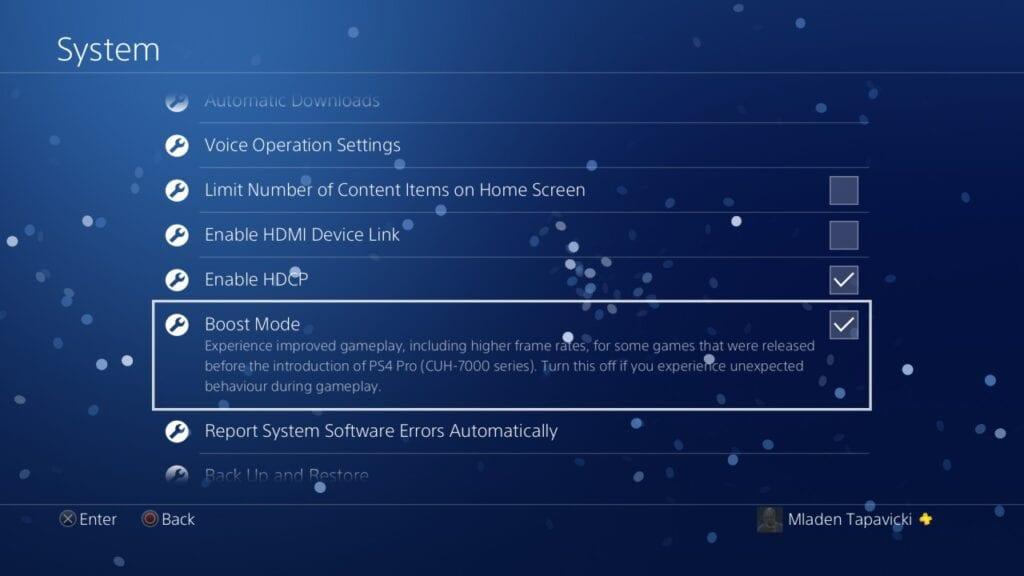 ps4 boost mode menu