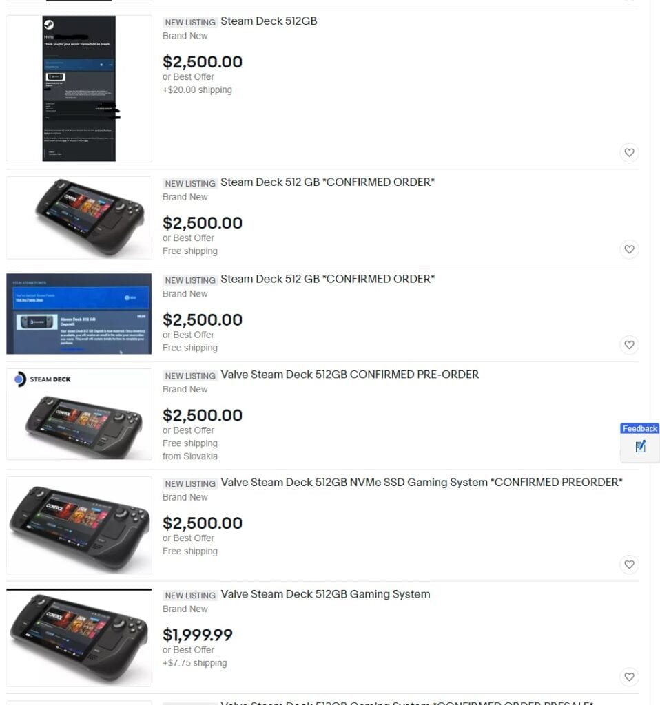 Steam Deck Scalpers Are Selling Reservations For $2000 And Up