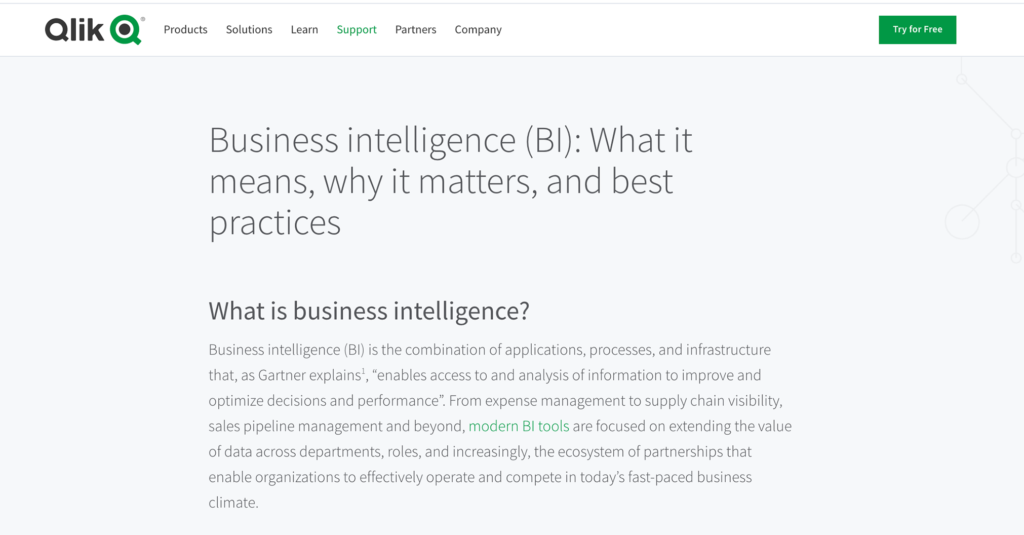 Qlik what is business intelligence SEO