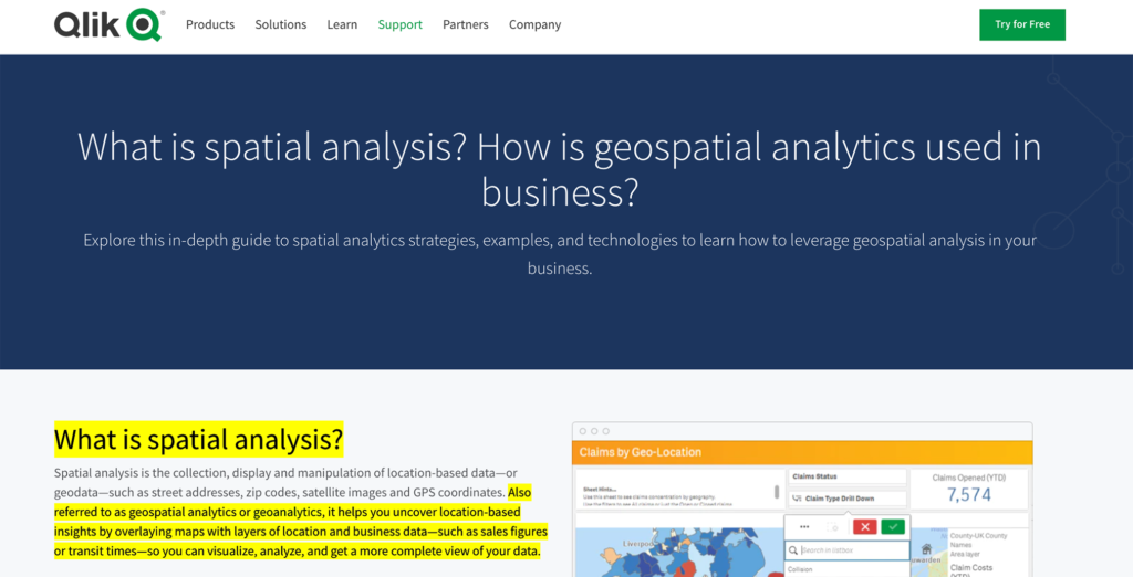 Qlik spatial analysis SEO copy