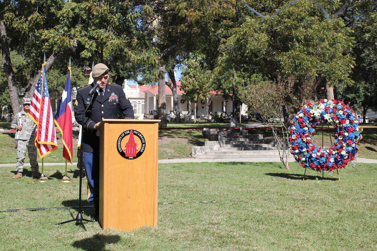 Sgt. James Jones, UIW student veteran, speaks to the community during the Veterans Day Ceremony. Jones said his decision to attend UIW was inspired by the Mission of the Sisters of Charity of the Incarnate Word.
