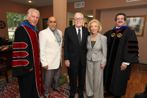 (Pictured L-R) Dr.Louis Agnese; Imam Abdur-Rahim Muhammad; Stanley and Sandra Rosenberg, UIW benefactors; and Rabbi Mark S. Diamond share a photo prior to the Spring 2013 Commencement ceremony for professional and Ph.D. candidates.
