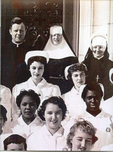 Spana (top, right) as a nursing student in 1957.
