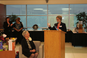 Dr. Kathi Light, provost, shares memories and toasts Spana in te Ila Faye Miller School of Nursing and Health Professions at her retirement celebration on Nov. 19.