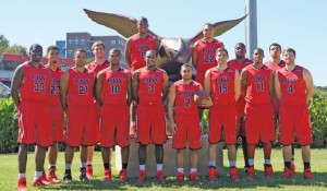 UIW's 2014-15 men's basketball team. Photos courtesy of Mark  Walton and UIW Cardinals Athletics.