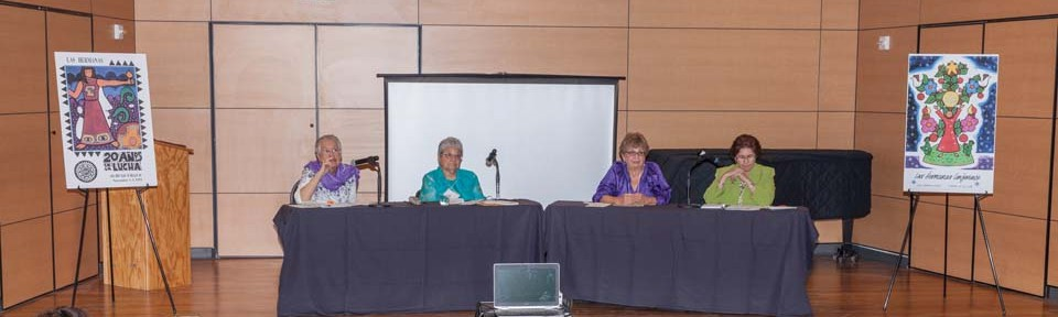 """The kickoff event, a Las Hermanas roundtable discussion, """"Remembering the Past, Envisioning the Future,"""" included (pictured L-R) moderator Sr. Maria Eva Flores, CDP (OLLU); and speakers Sr. Sylvia Sedillo, SL; Teresita Basso; and Sr. Yolanda Tarango, CCVI.  Each of the three speakers contributed to the founding of Las Hermanas in 1971, and spoke about their early and subsequent experiences with the movement."""
