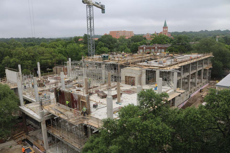 Construction continues successfully on UIW's Student Engagement Center, slated for completion June 2017.