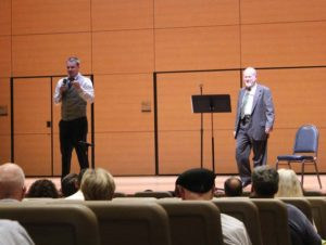 Culverhouse (left) introduces guest speaker Dr. Jonathan Shay.