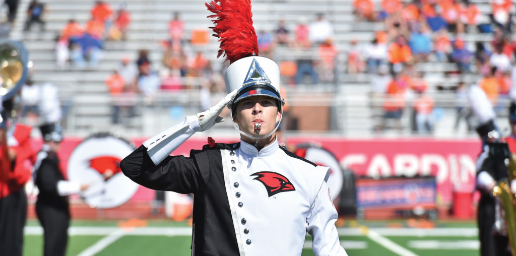 The Marching Cardinals perform during the big game.