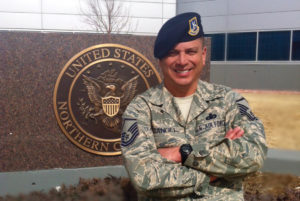 Phillip Rangel in front of United States Northern Command.