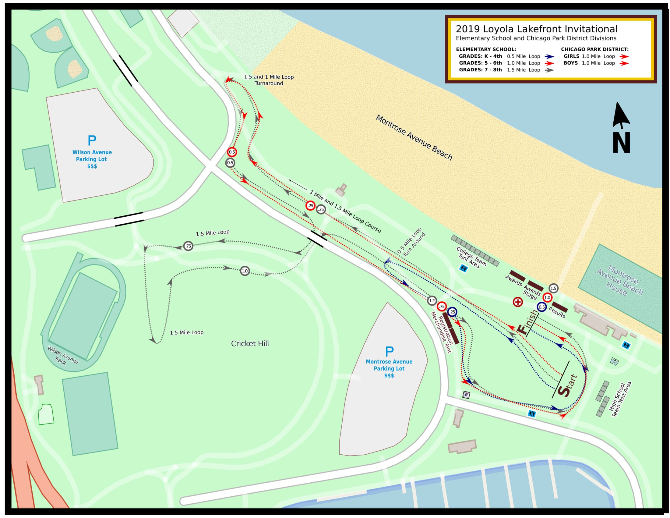 Course Map for the 2019 Loyola Lakefront Cross County Invitational - Elementary Division