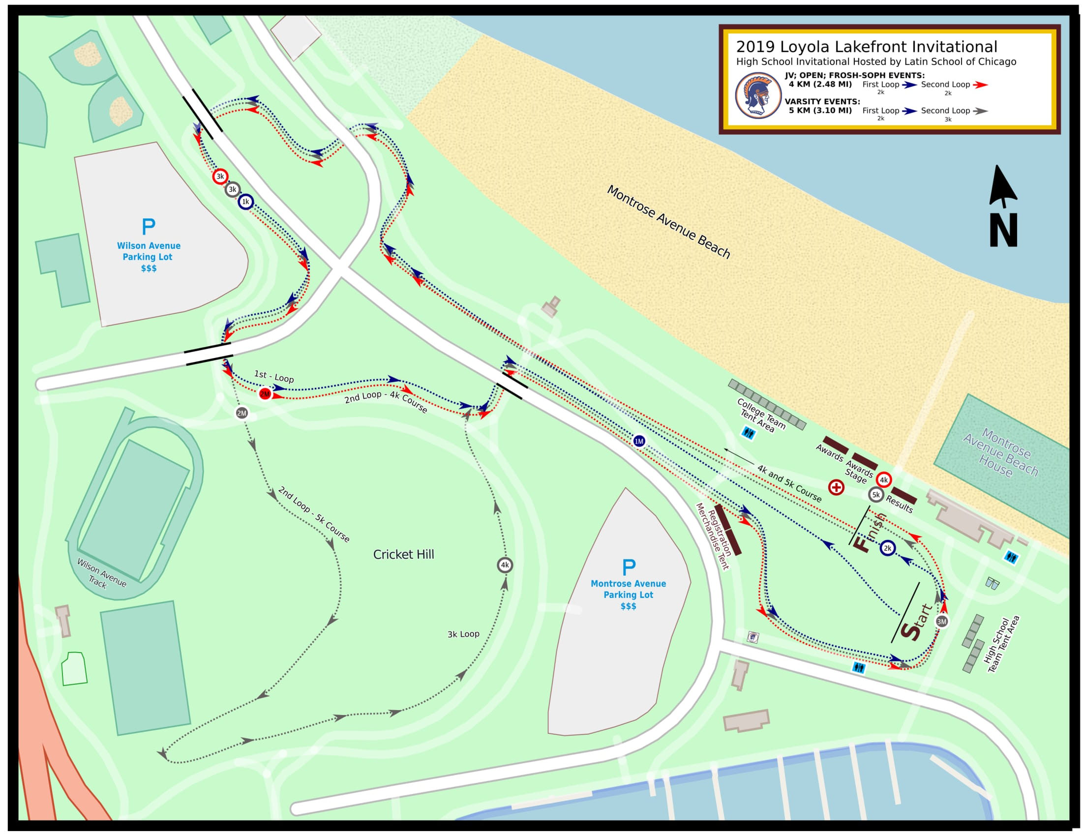 Course Map for the 2019 Loyola Lakefront Cross County Invitational - High School Division