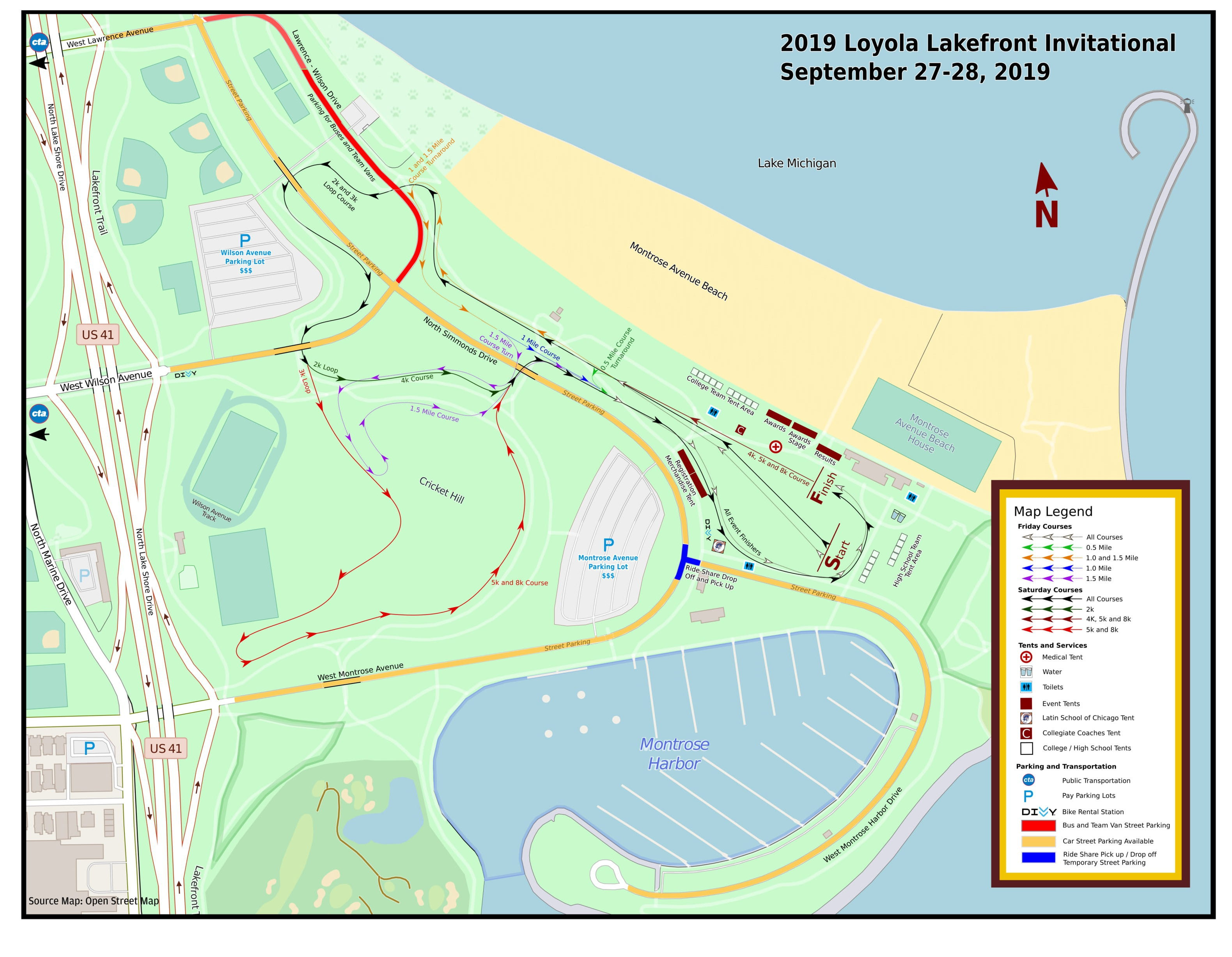 Event Map for the 2019 Loyola Lakefront Cross County Invitational