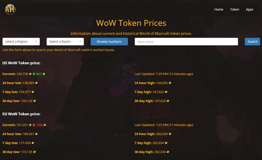 wow token prices